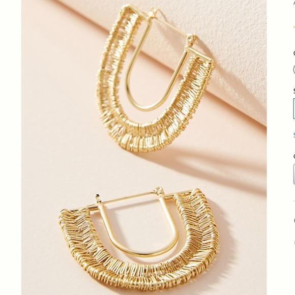 NWT Anthropologie Wrapped U-Hoop Earrings
